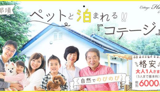 ペットと泊まれるコテージ【2020年7月OPEN!】那須にて「コテージHAGU」をオープン致しました!