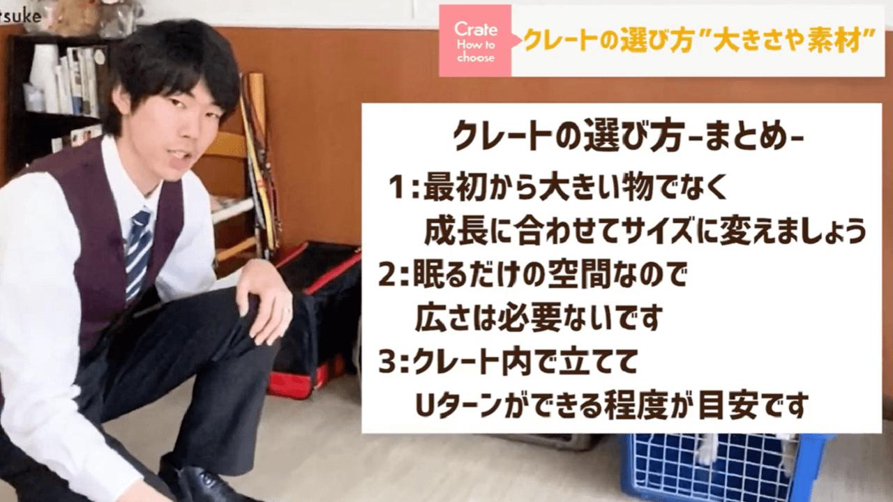 東京都文京区犬のしつけ教室でクレートの選び方のまとめをするドッグトレーナー